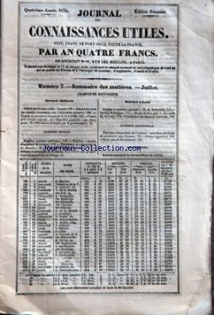 JOURNAL DES CONNAISSANCES UTILES [No 7] du 01/07/1834