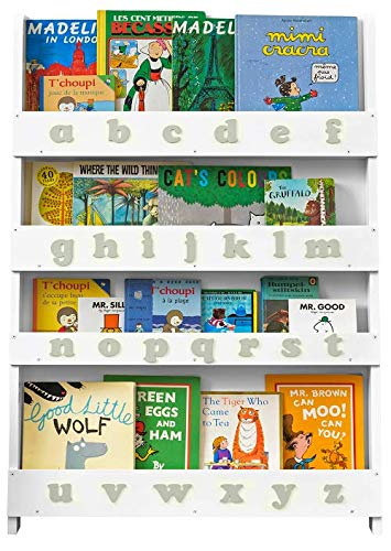 Tidy Books® - Das Originale Kinder-Bücherregal mit Alphabet - Buchcover Werden präsentiert - Schmales Regal fürs Kinderzimmer - Ideale Kinderbücher Aufbewahrung - 115 x 77 x 7 cm