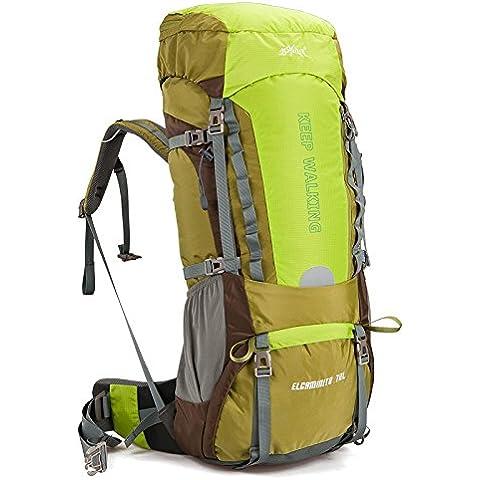 MaMaison007 Acampar al aire libre senderismo Trekking Mochila viaje impermeable hombro bolsa de 60 L 70L-70 verde