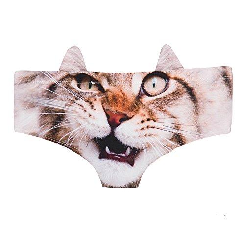 Womens '3d cat animal print svegli stampe slip con orecchie, cute 3d cat stampato hipster underwear (gatto arrabbiato)