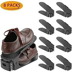 Réglable à chaussures,Rangement Chaussure pour Empiler les Chaussures Réglable Organiseur de Plastique Économie D'espace à Chaussures Support Rack - 8 Paires de Chaussures (Multicolore)