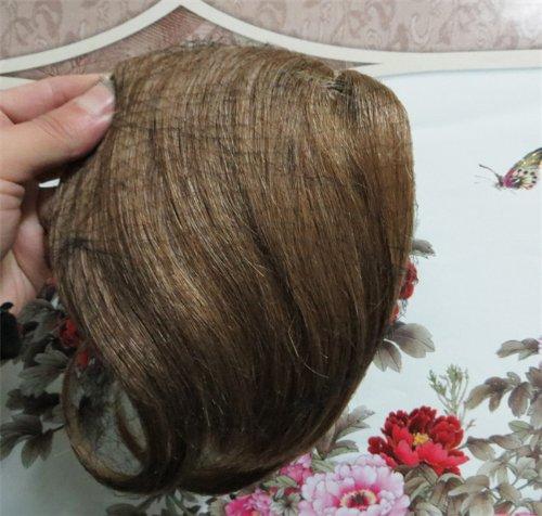 20,3 cm Golden Brown (# 12) cheveux humains véritables cheveux Fashion avant Neat Bang franges One cheveux