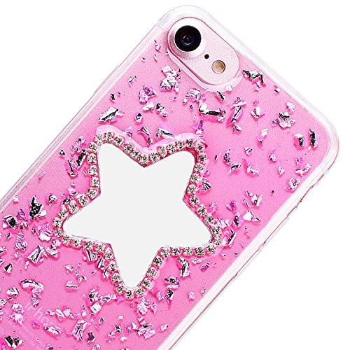 Custodia iPhone 7 Plus / iPhone 8 Plus, VemMore Case di Specchio Stella Morbido Trasparente Silicone TPU Cover con 3D Diamante Luccichio Strass Patterned Design Caso Backcase del Ultra Sottile Bling S Rosa