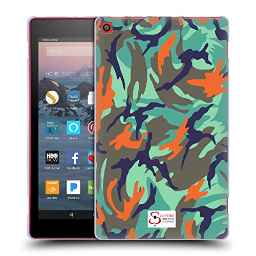 Official Support British Soldiers Blue Green Camo Soft Gel Case for Amazon Fire HD 8 (2017) Hd Green Camo