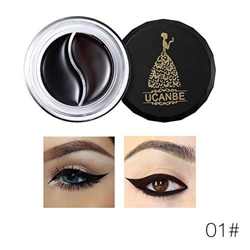 Cocohot 2 Couleurs Gel Eyeliner Étanche Maquillage Matte Eye Liner Crème Longue Durée Cosmétiques Kit avec Brosse