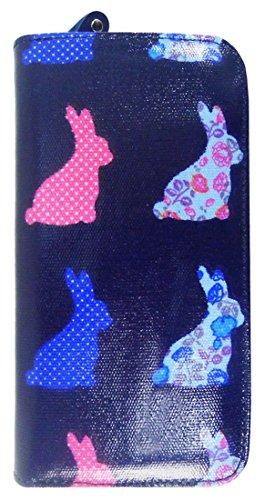Kukubird Vari Gatti Unicorni Animali Ancora Ombrello Floreale Pattern Large Signore Borsa Frizione Portafoglio Rabbit Dark Blue