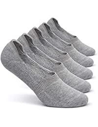 COTSON Cotton Loafer Socks for Men with anti slip Silicon Grip -(Gray, Pack of 5)