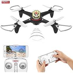 Syma X15W Drone con Cámara WIFI FPV 2.4GHz 4CH 6-Axis Cuadricoptero con Retención de Altitud, Plan de vuelo, Control de APP, Modo Sin Cabeza, Rotación de 360° y Luz LED
