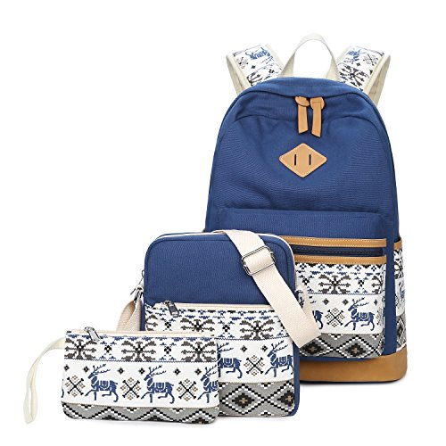 Student Backpacks Set School Bags, Fresion Rucksack + Shoulder Bag + Pencil Case for Young Girls and Boys(Blue)
