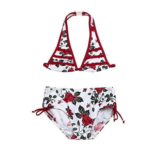 smileq Bikini Set Mädchen rose floral Neckholder Rüschen Badeanzug Baden Outfits, grün, 5T