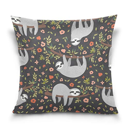 alaza Throw Pillow Case Decorative Cushion Cover Square Pillowcase, Funny Sloth on Tree Floral Print Sofa Bed Pillow Case Cover(18x18inch) Twin Sides -