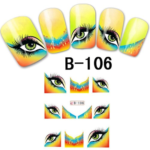 Davidsonne Français Nail Art Tips en Oblique Lot de transfert de l'eau sticker acrylique DIY B106