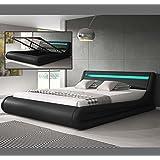 Design Ameublement - Lit cofite design Parisina avec LED – noir (180x200cm)