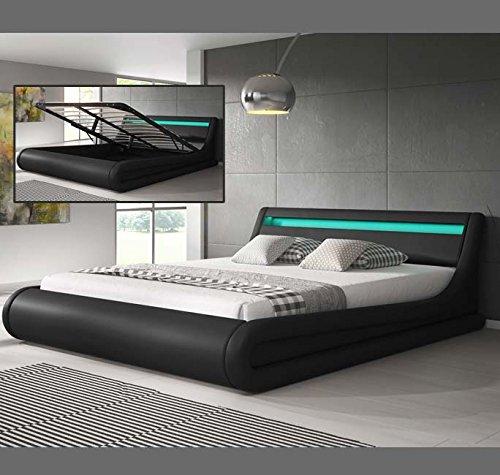 Muebles Bonitos – Luxus Designer LED-Polsterbett mit Bettkasten Schwarz 160x200