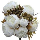 Luyue Vintage Pfingstrosen, künstlich, Seide, Blumen-Bouquet, Hochzeitsdekoration weiß