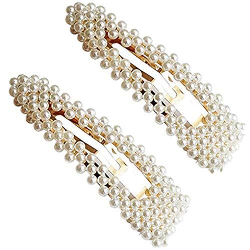 Damen Hochzeit Haarspange Braut Gold Perlen Schleife Glitzer Accessoires/Geburtstags Geschenk Party Zubehör Großer Spitzer Clip Mama Frauen Mädchen (One Size, Z05-2PCS) ()