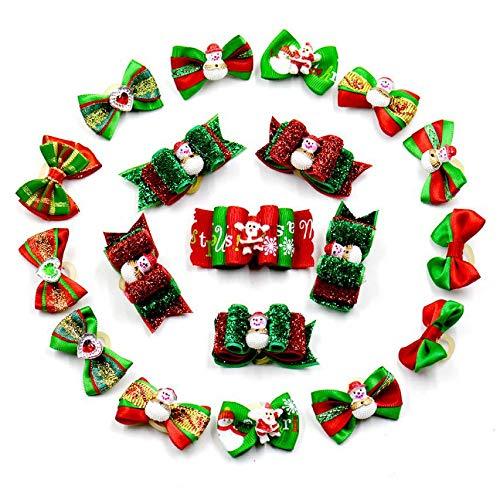 Jinghai 20 UNIDS Sombrero de Papá Noel Navidad Perro Cachorro Arco de Pelo Cinta Horquilla Mascotas Accesorios Mascotas Perro Suministros de Mascotas para Navidad-Color al Azar