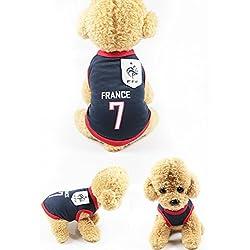 Ropa para Perros Pequeños, Jersey Chaleco Deportes Suave Transpirable del Perros Gatos Cachorros Camisa del Animal Doméstico de Fútbol Copa del Mundo para Verano Al Aire Libre -Franch,M