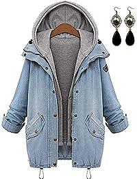 PIPIHU Mujer Mezclilla Chaquetas con Capucha Capa Chamarra Doble Abrigos+Chaleco Outwear Invierno