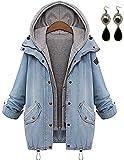 PIPIHU Damen Oversize 2 in 1 Jeansjacke + Hoodie Weste Winterjacke Langarmshirt Kurzjacke Freizeit Oberteil Mäntel Outwear mit Kapuze Large