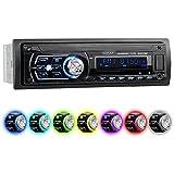 XOMAX XM-RSU258BT Autoradio aucun lecteur CD + Connexion Bluetooth + 7 couleurs d'éclairage (rouge, bleu, vert...) + Port USB (jusqu'à 128 GB) et fente pour cartes SD (jusqu'à 128 GB) pour fichiers MP3 et WMA + Entrée AUX + Protection antivol: La façade est amovible + Dimensions standard DIN simple (1DIN) + Télécommande, Housse de rangement et tiroir métallique inclus