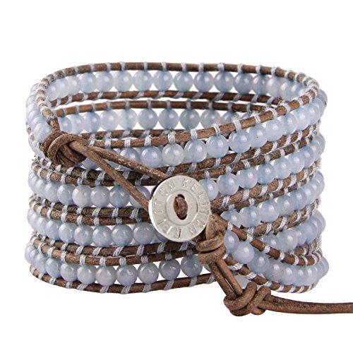 Jade-armreif Echte (KELITCH 5 Wicklen Armband Blau Synthetisch Jade Perlen Echtes Leder Armreifen Handmade Mode)