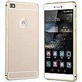 Prevoa ® 丨 Huawei P8 Funda - Metal Frame Bumper + Plastic Back Case Funda Cover Case para Huawei P8 5.2 Pulgadas Android Smartphone - Oro