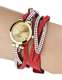 iSweven double ring Rhinestone bracelet ladies ,students quartz watch Analogue Red Unisex Wrist Watch w1060a