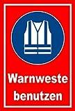 Schild - Gebots-zeichen - Warn-weste benutzen - entspr. DIN ISO 7010 / ASR A1.3 – 60x40cm mit Bohrlöchern | stabile 3mm starke Aluminiumverbundplatte – S00361-030-D +++ in 20 Varianten