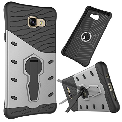 YHUISEN Galaxy A7 2016 Case, Hybrid Tough Rugged Dual Layer Rüstung Schild Schützende Shockproof mit 360 Grad Einstellung Kickstand Case Cover für Samsung Galaxy A7 2016 A710 ( Color : Gold ) Silver