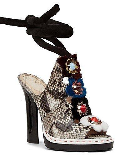 UWSZZ IL Sandali eleganti comfort Scarpe Donna-Scarpe col tacco-Tempo libero / Formale / Serata e festa-Tacchi / Spuntate-Quadrato-Di pelle-Nero / Marrone / Giallo / Beige beige