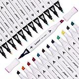 Luxbon - Set di 12 pezzi di pennarelli indelebili a doppia punta per tessuto, marcatore a punta fine per graffiti, colori per magliette, lavori artistici, atossici e sicuri per i bambini