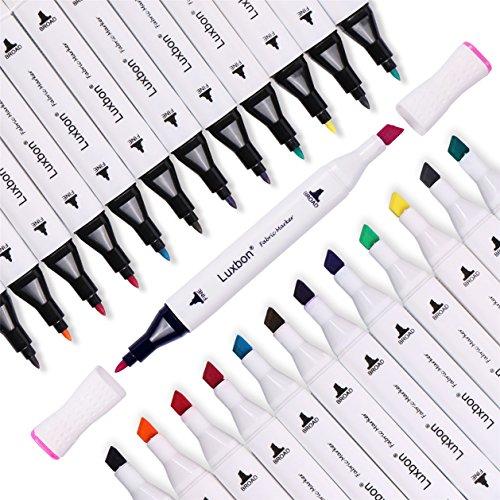 Luxbon 12er Set Doppelspitze Textilmarker Permanente Textilstifte Stoffmalfarben T-Shirt Schuhe Taschen DIY Kinder sicher ungiftig Bunt