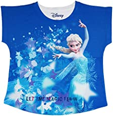 Frozen Blue Polyester Top For Girls DFZ0021