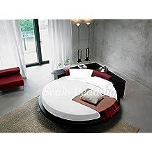 SCALABEDDING redondo de cama de algodón egipcio 100% 400 Queen blanco 84 ...