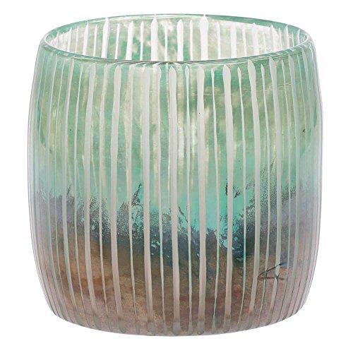 Riverdale Windlicht/Vase Zofia aus Glas schimmernd mit Rillen 17 cm - Teelicht - Teelichthalter - Kerzenhalter - Weihnachten - Lichtstück - Geschenkidee - modern - Dekoidee - Geschenke