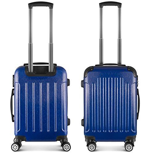 PRASACCO Bagage à Main Cabine,Bagage Cabine en Tréfilage,Valise de Haute Qualité avec Poignée Télescopique,Matériel de ABS+PC, (Bleu foncé, valise cab...