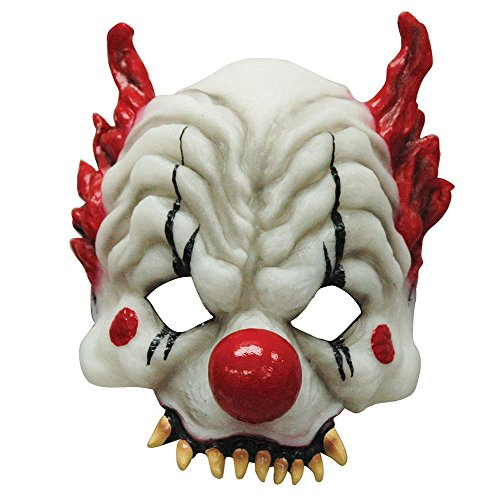 Bristol Novelty bm386Glow in the Dark Horror Clown Half Face Maske, One size
