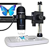 MAOZUA 5MP 20x-300x Optical Zoom USB Microscope 5MP with Professional Base Stand for Windows, Mac, Vista with 8 LED Lights
