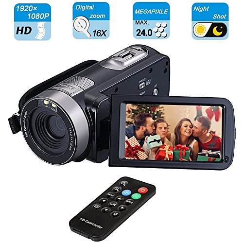 Digital Video Camcorder, VPRAWLS 24.0 Mega Pixel 16X Zoom Portable Mini Hand Video Videorecorder mit IR Nachtsicht Full HD 1080P Max. DV 3 'LCD-Bildschirm (zwei Batterien enthalten)