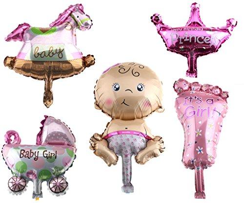 5x Folienballon IT'S A GIRL Baby Mädchen Party Geburt Luftballon Wiege Fuß - Mädchen Aufgeblasen