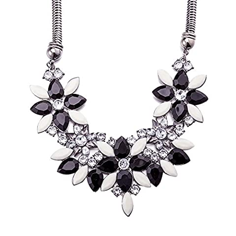 Women Black & White Resin Flowers Leaf Pendant Necklace Zinc Alloy Jewelry Chocker Chunky Statement Body Neck Chain