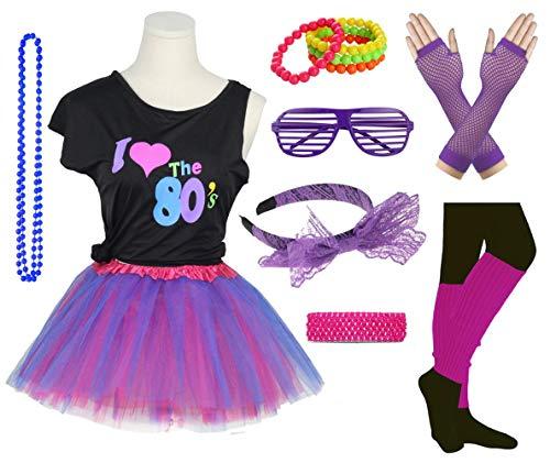 Mädchen, ich Liebe die 80er Jahre Disco T-Shirt für 1980er Jahre Thema Party-Outfit (10-12 Years, Purple)