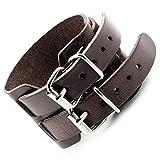 mendino Herren Ausgezeichnete Vintage braun Breite Gürtel Style verstellbar ECHT LEDER ARMBAND ARMREIF