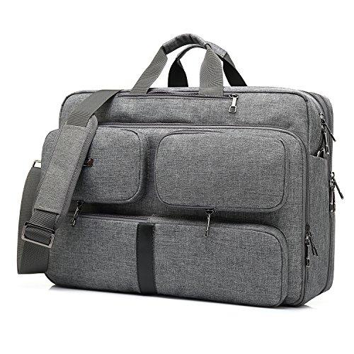 CoolBell Convertible Laptop Tasche Rucksack Messenger Bag Umhängetasche Business Aktentasche Multifunktions Reiserucksack 17,3 Zoll Laptop Tasche für Herren Damen grau grau 17.3 Inches
