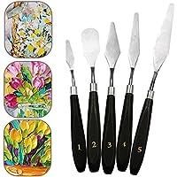 lzndeal Set de 5 espátulas Mixtas de raspador de Acero Inoxidable para Kit de Herramientas de Pintura al óleo