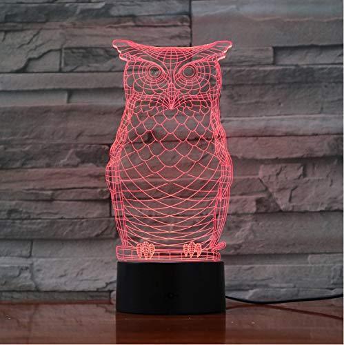 optische Täuschungslampe Owl 3D Visuelle Birne Optische Täuschung LED-Lampe Berührungsschalter Sensor Nachtlicht USB Flexible Projektion gravierte Acrylgeschenke -