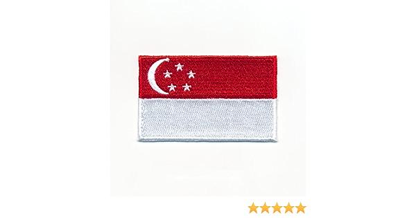 40 X 25 Mm Singapur Flagge Republic Of Singapore Flag Aufnäher Aufbügler 0943 A Auto
