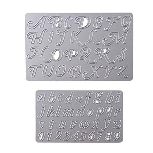 Poualss 2 Stücke Stanzformen Schablonen Buchstaben und Zahlen Stanzformen für DIY Scrapbooking Album Papier Karte Handwerk Tickets für Prägung
