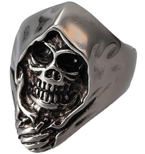 Uomo Acciaio inox gotico Hip Hop gruppi punk di scheletro grigio chiaro Dimensione 27 di AieniD